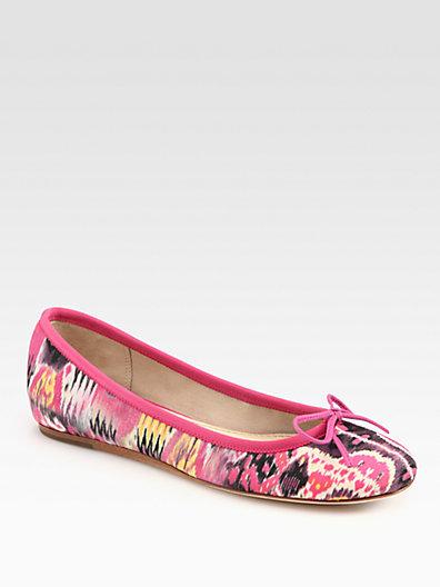 Saks Fifth Avenue 10022-SHOE Loralei Ikat-Print Canvas & Leather Ballet Flats