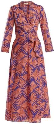 Diane von Furstenberg Graphic-print cotton-blend wrap midi dress
