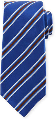 Kiton Framed Satin Stripe Tie, Blue