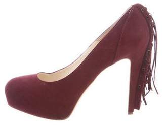 Brian Atwood Fringe-Trimmed Suede Pumps