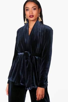 boohoo Boutique Velvet Lined Shawl Collar Jacket