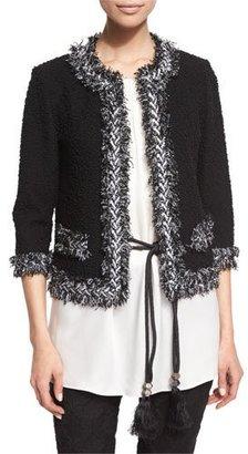St. John Collection Fringe-Trim Boucle Knit Jacket, Caviar/Frost $1,495 thestylecure.com