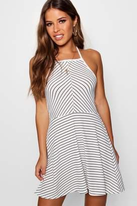 d7c0a22a74d boohoo Petite Stripe Rib Tie Neck Halter Skater Dress