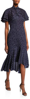 Rickie Freeman For Teri Jon Polka Dot Short-Sleeve Tiered Bolero Dress with Flounce Hem