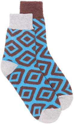 Sacai brown jacquard low socks