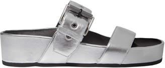 Rag & Bone Evin Silver Leather Platform Sandals