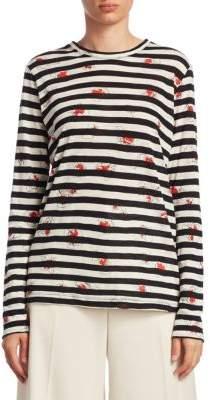 Proenza Schouler Striped Cotton Long-Sleeve Jersey Tee