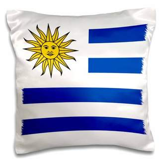 3dRose Flag of Uruguay - Uruguayan white and blue stripes with yellow Sun of May - South America world - Pillow Case, 16 by 16-inch