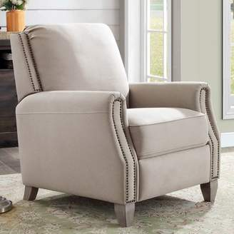 Better Homes & Gardens Pushback Recliner, Taupe Fabric Upholstery with Bronze Nail-Head Trim