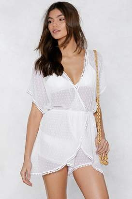Nasty Gal You'll See Me Through Polka Dot Cover-Up Romper
