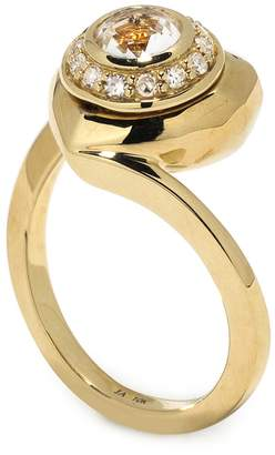 Jordan Askill Pavé Diamond Heart Locket Ring - Yellow Gold