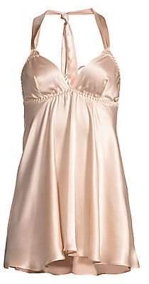 Gilda and Pearl Women's Mia Ostrich Feather-Trim Stretch-Silk Babydoll Slip Dress