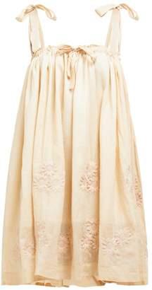 Innika Choo Floral Embroidered Ramie Mini Dress - Womens - Beige