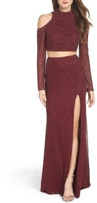 Women's La Femme Mesh Two-Piece Gown $628 thestylecure.com