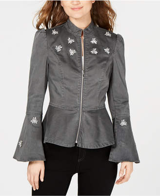 INC International Concepts I.n.c. Petite Rhinestone-Embellished Peplum Jacket