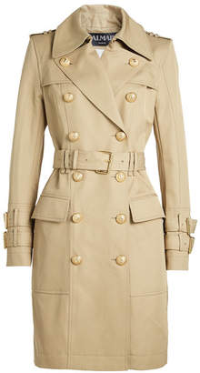 Balmain Cotton Trench Coat with Embossed Buttons