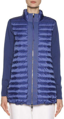 Moncler Long Knit & Down Combo Cardigan