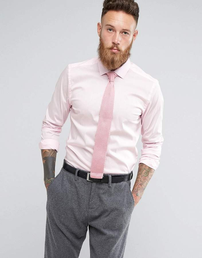 Moss Bros Skinny Smart Shirt With Stretch