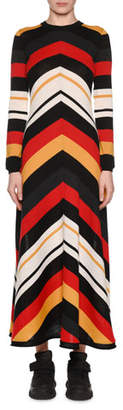 MSGM Striped Long-Sleeve Crewneck Maxi Dress