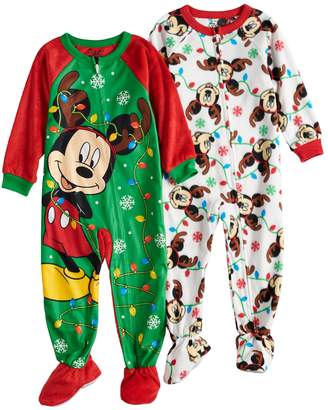 Disney Disney's Mickey Mouse Toddler Boy 2-pack Christmas Fleece Footed Pajamas