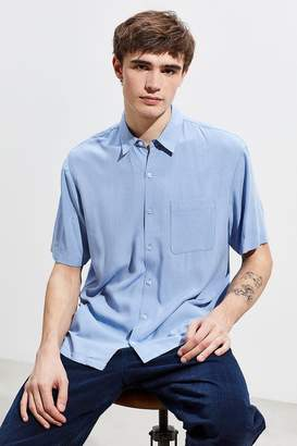 523dff86 Urban Outfitters Solid Rayon Short Sleeve Button-Down Shirt