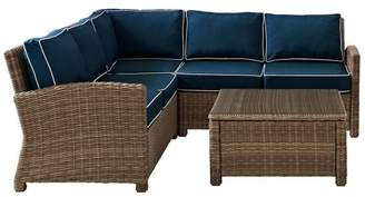 Crosley Bradenton 4-Piece Outdoor Wicker Seating Set With Navy Cushions