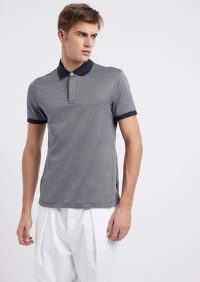 Emporio Armani Polo Shirt In Micro Geometric Cotton With Contrasting Collar