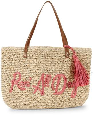 Saks Fifth Avenue Marabelle Embroidered Rose All Day Paper Straw Graphic Tote