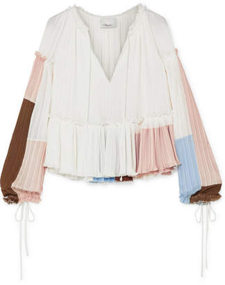 3.1 Phillip Lim Pleated Color-block Crepe Blouse - White