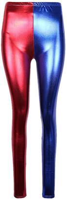 RIDDLED WITH STYLE Womens Wet Look Metallic Leggings Harley Quinn Suicide Squad Pants#( Wet Look Metallic Leggings##Womens)