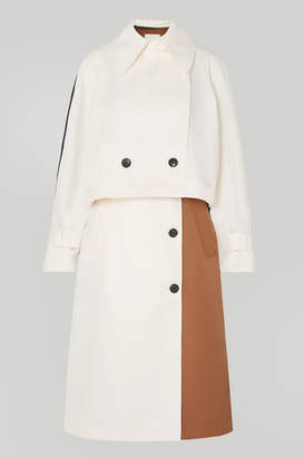 Tibi Convertible Color-block Twill Trench Coat - Ivory