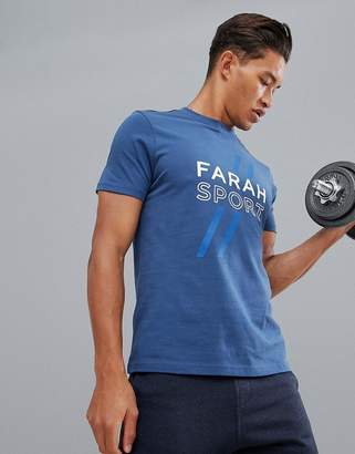 Farah Sport Johnstone logo t-shirt in navy