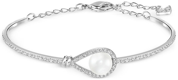 SwarovskiSwarovski Silver-Tone Imitation Pearl and Crystal Pavé Bangle Bracelet