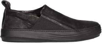 Waxed Leather Slip-On Sneakers
