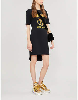 Moschino Logo-embroidered cotton-jersey T-shirt dress