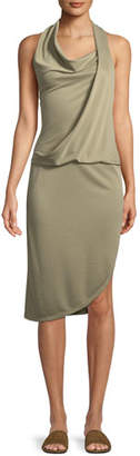 Halston Draped Cowl-Neck Sleeveless Jersey Dress