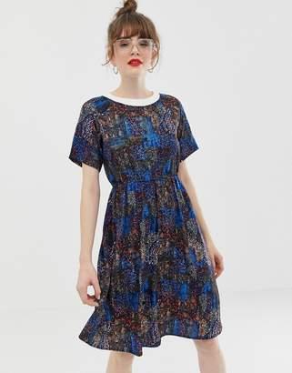 Noisy May mixed animal print high neck dress