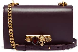 Alexander McQueen 'The Jewelled Satchel' in leather with Swarovski crystal knuckle