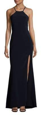Xscape Evenings Tied-Back Halter Slit Gown