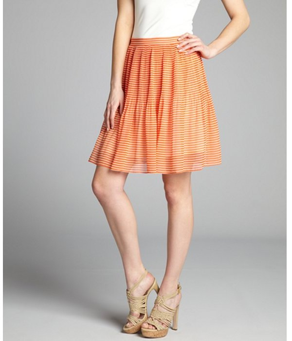 French Connection tangerine and cream striped chiffon accordion pleated skirt