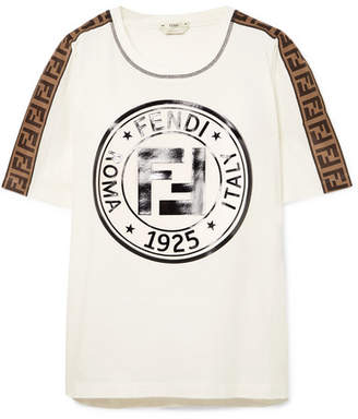 Fendi Printed Cotton-jersey T-shirt - White
