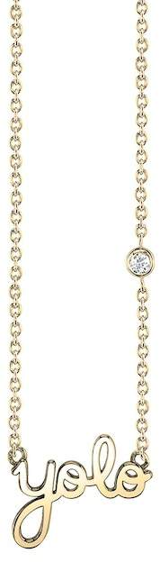 SHY BY SE 14K Yellow Gold Plated Sterling Silver Diamond 'Yolo' Pendant Necklace - 0.015 ctw