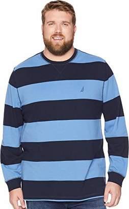 Nautica Men's Big and Tall Long Sleeve Rugby Stripe Crewneck Polo Shirt
