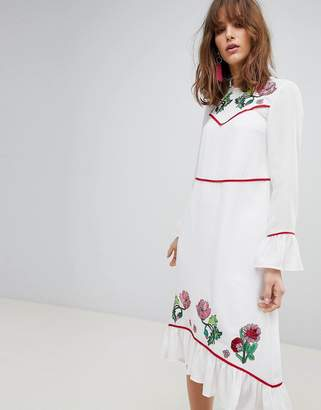 Asos DESIGN Embroidered Yoke Western Midi Dress