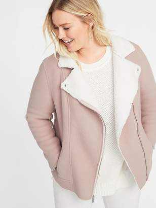 Old Navy Bonded Sherpa Plus-Size Moto Jacket