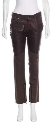 Blumarine Leather-Paneled Straight-Leg Jeans