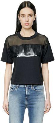 Logo Cotton Jersey & Mesh T-Shirt $80 thestylecure.com