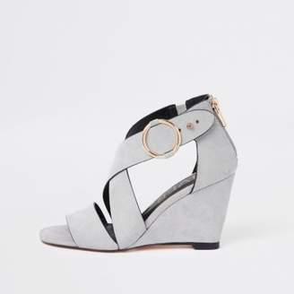 River Island Womens Grey cross strap wedge sandals
