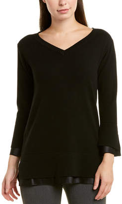 Lafayette 148 New York V-Neck Silk-Trim Cashmere Sweater