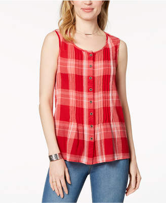 Style&Co. Style & Co Cotton Plaid Shirt, Created for Macy's
